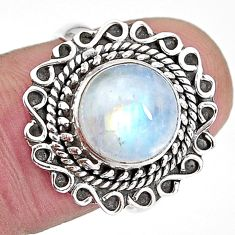 4.69cts natural rainbow moonstone 925 silver solitaire ring size 7 p92696