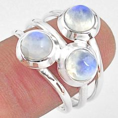 3.39cts natural rainbow moonstone 925 sterling silver ring jewelry size 8 p85816