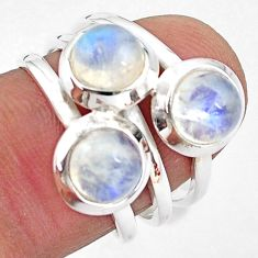 3.41cts natural rainbow moonstone 925 sterling silver ring jewelry size 7 p85819