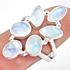 10.70cts natural rainbow moonstone 925 sterling silver ring size 8.5 p77739
