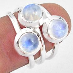 3.53cts natural rainbow moonstone 925 sterling silver ring size 6.5 p85815