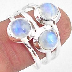3.41cts natural rainbow moonstone 925 sterling silver ring size 7.5 p85820