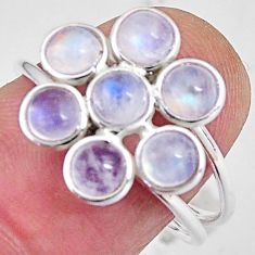 5.08cts natural rainbow moonstone 925 sterling silver ring size 7.5 p89870