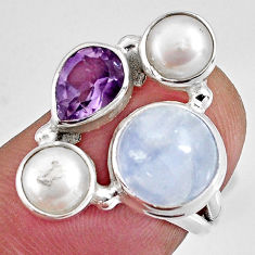 8.05cts natural rainbow moonstone amethyst 925 silver ring size 1 5/8 p90645