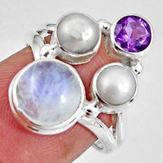 8.03cts natural rainbow moonstone amethyst pearl 925 silver ring size 6.5 p90642