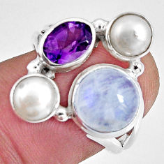 8.42cts natural rainbow moonstone amethyst pearl 925 silver ring size 7.5 p90643