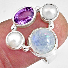 7.82cts natural rainbow moonstone amethyst pearl 925 silver ring size 7.5 p90653
