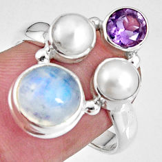 7.82cts natural rainbow moonstone amethyst pearl 925 silver ring size 8.5 p90657