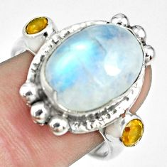 7.98cts natural rainbow moonstone citrine 925 sterling silver ring size 9 p69920