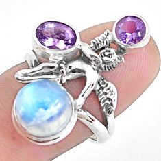6.76cts natural rainbow moonstone silver angel wings fairy ring size 8 p42919