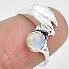 0.81cts natural rainbow moonstone silver dolphin solitaire ring size 6 p61775