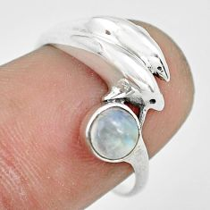 0.81cts natural rainbow moonstone silver dolphin solitaire ring size 7 p61776