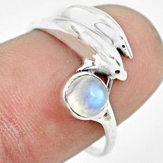 0.81cts natural rainbow moonstone silver dolphin solitaire ring size 7 p61778