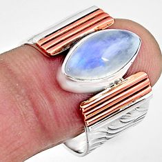 6.53cts natural rainbow moonstone silver rose gold solitaire ring size 9 p91196