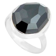11.59cts natural rainbow obsidian eye 925 silver solitaire ring size 8 p72446