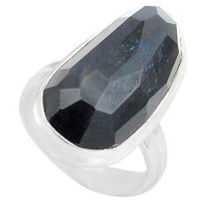 13.87cts natural rainbow obsidian eye 925 silver solitaire ring size 6 p72447