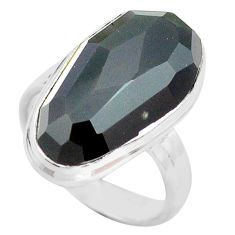 13.85cts natural rainbow obsidian eye 925 silver solitaire ring size 8 p72449