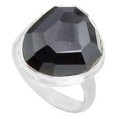 14.14cts natural rainbow obsidian eye 925 silver solitaire ring size 8.5 p72450