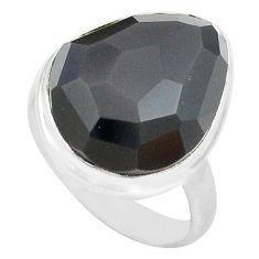 14.14cts natural rainbow obsidian eye 925 silver solitaire ring size 8 p72453