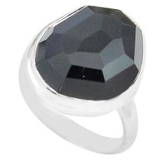 14.45cts natural rainbow obsidian eye 925 silver solitaire ring size 8.5 p72455