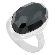 14.09cts natural rainbow obsidian eye 925 silver solitaire ring size 6.5 p72457