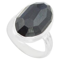 10.78cts natural rainbow obsidian eye 925 silver solitaire ring size 6 p72458