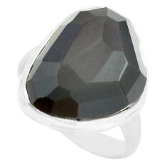 14.47cts natural rainbow obsidian eye 925 silver solitaire ring size 7.5 p72481