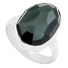 11.66cts natural rainbow obsidian eye 925 silver solitaire ring size 8 p74873
