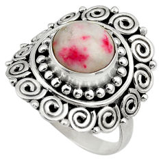 4.92cts natural red cinnabar spanish 925 sterling silver ring size 8 c4254