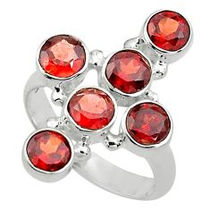 5.43cts natural red garnet 925 sterling silver holy cross ring size 8 p77661
