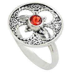 0.57cts natural red garnet 925 sterling silver ring jewelry size 7 c4198