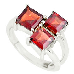 3.93cts natural red garnet 925 sterling silver ring jewelry size 5.5 p62105