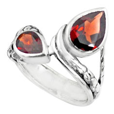 5.42cts natural red garnet 925 sterling silver ring jewelry size 7.5 p62346
