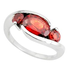 3.93cts natural red garnet 925 sterling silver ring jewelry size 6.5 p73044