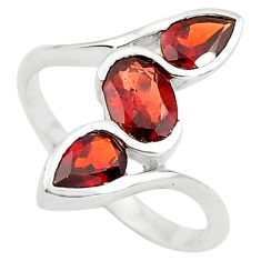 3.51cts natural red garnet 925 sterling silver ring jewelry size 6 p73242