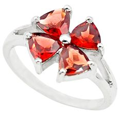 3.42cts natural red garnet 925 sterling silver ring jewelry size 6.5 p73370