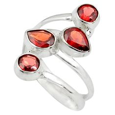 4.94cts natural red garnet 925 sterling silver ring jewelry size 8 p77625