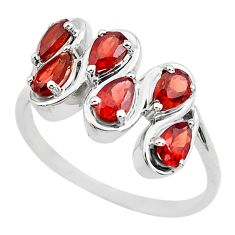 4.07cts natural red garnet 925 sterling silver ring jewelry size 7.5 p82859