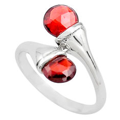3.98cts natural red garnet 925 sterling silver ring jewelry size 6.5 p82992