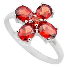 4.29cts natural red garnet 925 sterling silver ring jewelry size 7.5 p83533