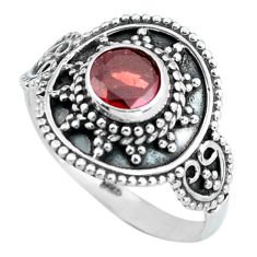 Clearance Sale- 1.08cts natural red garnet 925 sterling silver solitaire ring size 7.5 d32062