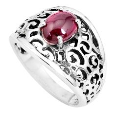 2.19cts natural red garnet 925 sterling silver solitaire ring size 7 p36103