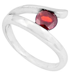 0.97cts natural red garnet 925 sterling silver solitaire ring size 7.5 p36862