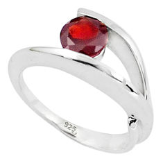 1.17cts natural red garnet 925 sterling silver solitaire ring size 6.5 p36918