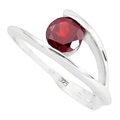 1.56cts natural red garnet 925 sterling silver solitaire ring size 7.5 p36933