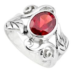 3.42cts natural red garnet 925 sterling silver solitaire ring size 6.5 p36946