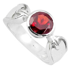 2.58cts natural red garnet 925 sterling silver solitaire ring size 6.5 p37057