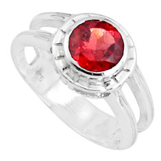 2.69cts natural red garnet 925 sterling silver solitaire ring size 6.5 p37126