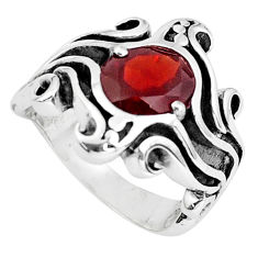 3.30cts natural red garnet 925 sterling silver solitaire ring size 6.5 p37241