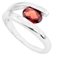 1.74cts natural red garnet 925 sterling silver solitaire ring size 7.5 p37307